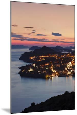 High Angle View of Dubrovnik at Sunset, UNESCO World Heritage Site, Dalmatia, Croatia, Europe-Markus Lange-Mounted Photographic Print