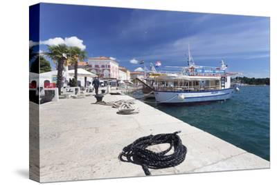 Excursion Boat at the Promenade at the Harbour of Porec, Istra, Croatia, Europe-Markus Lange-Stretched Canvas Print
