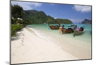 Long-Tail Boats and Beach of Ao Dalam Bay-Stuart Black-Mounted Photographic Print