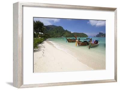 Long-Tail Boats and Beach of Ao Dalam Bay-Stuart Black-Framed Photographic Print