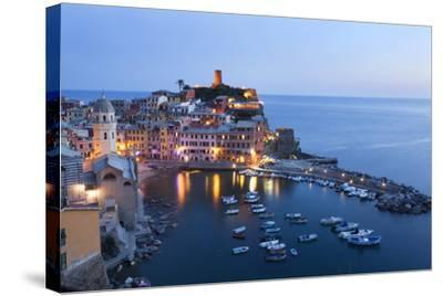 Vernazza at Dusk, Cinque Terre, UNESCO World Heritage Site, Liguria, Italy, Mediterranean, Europe-Mark Sunderland-Stretched Canvas Print