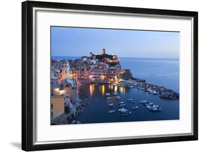 Vernazza at Dusk, Cinque Terre, UNESCO World Heritage Site, Liguria, Italy, Mediterranean, Europe-Mark Sunderland-Framed Photographic Print