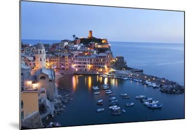 Vernazza at Dusk, Cinque Terre, UNESCO World Heritage Site, Liguria, Italy, Mediterranean, Europe-Mark Sunderland-Mounted Photographic Print