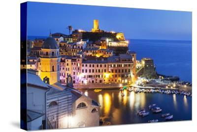 Vernazza at Dusk, Cinque Terre, UNESCO World Heritage Site, Liguria, Italy, Mediterranean, Europe-Mark Sunderland-Stretched Canvas Print