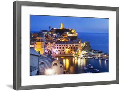 Vernazza at Dusk, Cinque Terre, UNESCO World Heritage Site, Liguria, Italy, Mediterranean, Europe-Mark Sunderland-Framed Photographic Print