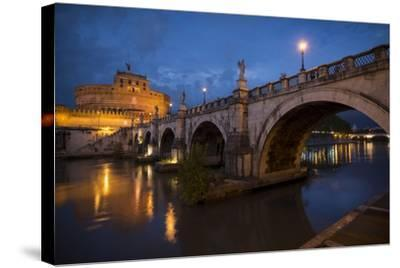 Pont Sant' Angelo and Castel Sant' Angelo at Dusk, Rome, Lazio, Italy, Europe-Ben Pipe-Stretched Canvas Print