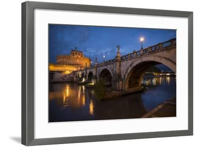 Pont Sant' Angelo and Castel Sant' Angelo at Dusk, Rome, Lazio, Italy, Europe-Ben Pipe-Framed Photographic Print