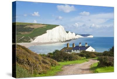 The Seven Sisters Chalk Cliffs and Coastguard Cottages-Neale Clark-Stretched Canvas Print