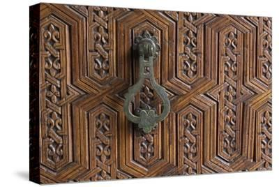Detail of a Carved Wooden Door in the Musee De Marrakech, Marrakech, Morocco, North Africa, Africa-Martin Child-Stretched Canvas Print