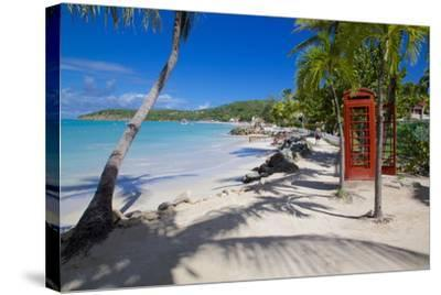 Beach and Red Telephone Box-Frank Fell-Stretched Canvas Print