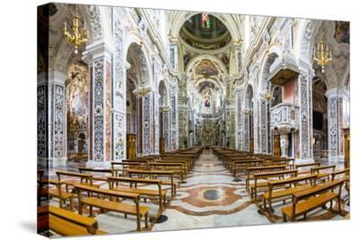 Interior of the Church of Saint Mary of Gesu (Chiesa Del Gesu) (Casa Professa)-Matthew Williams-Ellis-Stretched Canvas Print