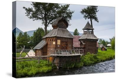 Traditional Rebuilt Houses in the Ewenen Museum in Esso, Kamchatka, Russia, Eurasia-Michael Runkel-Stretched Canvas Print