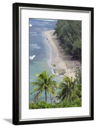 Ke'E Beach from the Kalalau Trail on the Na Pali Coast of Kauai, Hawaii-Rich Reid-Framed Photographic Print