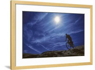 A Mountain Biker on Slickrock Trail Near Moab, Utah-David Hiser-Framed Photographic Print