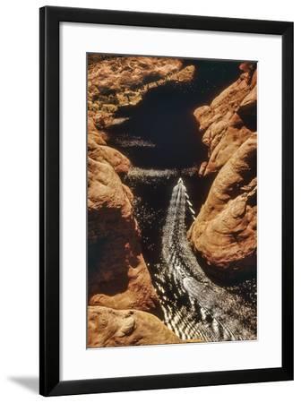 A Boat in Side Canyon, Lake Powell, Utah-David Hiser-Framed Photographic Print