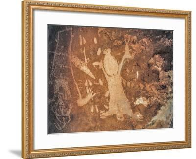 A Rare Anasazi Petroglyph on a Sandstone Boulder Thought to Depict Childbirth-David Hiser-Framed Photographic Print