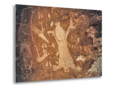 A Rare Anasazi Petroglyph on a Sandstone Boulder Thought to Depict Childbirth-David Hiser-Metal Print