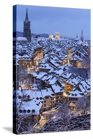 Snow-Covered Roofs of the Old Town of Bern, Switzerland-Peter Klaunzer-Stretched Canvas Print