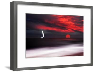 White sailboat and red sunset-Philippe Sainte-Laudy-Framed Photographic Print