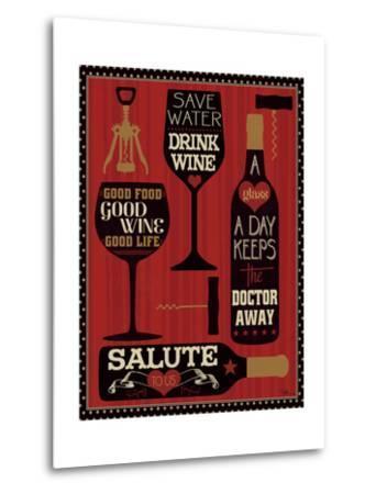 Wine Words II-Pela Design-Metal Print