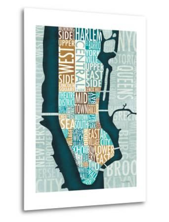 Manhattan Map Blue Brown-Michael Mullan-Metal Print