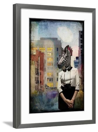 Zebra Strolling the High Line--Framed Premium Giclee Print