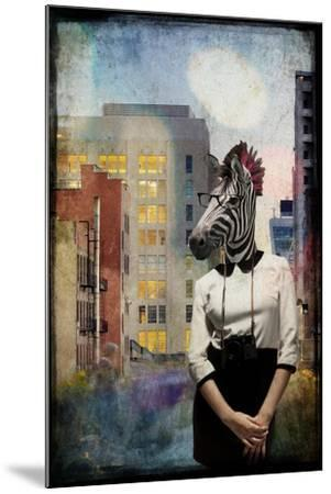 Zebra Strolling the High Line--Mounted Premium Giclee Print