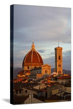 Italy, Florence, Main Duomo with evening's last light.-Terry Eggers-Stretched Canvas Print
