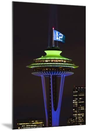 Space Needle with Seahawk colors and 12th man flag. Washington, USA-Jamie & Judy Wild-Mounted Photographic Print
