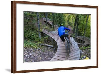 Mountain biking on the Over the Edge Trail, Copper Harbor, Michigan-Chuck Haney-Framed Photographic Print