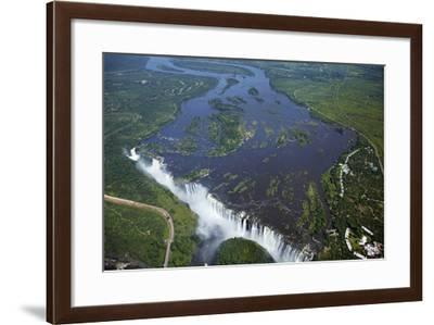 Victoria Falls and Zambezi River, Zimbabwe/Zambia border-David Wall-Framed Photographic Print