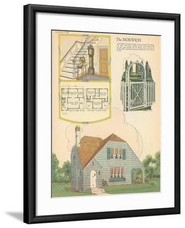 Single-Family Home, Rendering and Floor Plan--Framed Art Print
