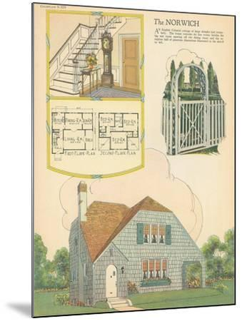 Single-Family Home, Rendering and Floor Plan--Mounted Art Print