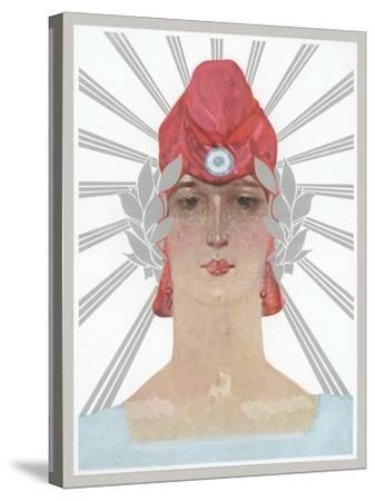 Art Deco Woman with Laurel Wreath and Red Hat--Stretched Canvas Print