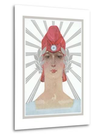 Art Deco Woman with Laurel Wreath and Red Hat--Metal Print