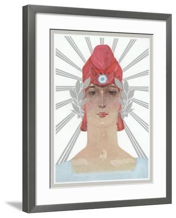 Art Deco Woman with Laurel Wreath and Red Hat--Framed Art Print