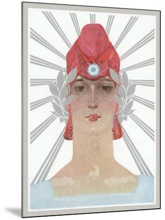 Art Deco Woman with Laurel Wreath and Red Hat--Mounted Art Print