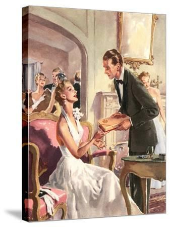 Couple at Fancy Dress Ball--Stretched Canvas Print