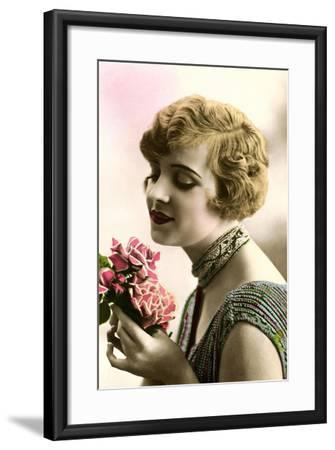 Woman with Bouquet--Framed Art Print