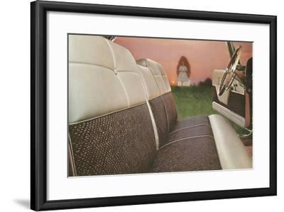 American Car Interior with Saintly Vision--Framed Art Print
