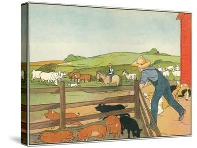 Barnyard Scene--Stretched Canvas Print