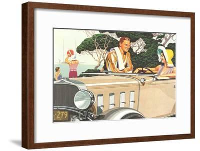 Flirting by the Beach--Framed Art Print