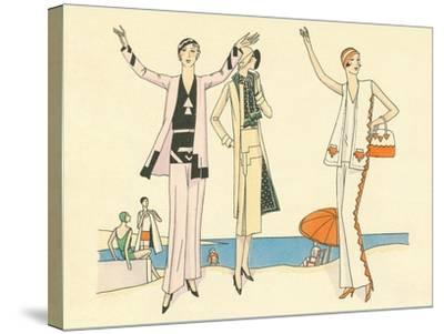 Vintage Haute Couture Beach Wear--Stretched Canvas Print