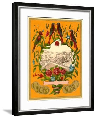 Birds Perched around Factory Scene--Framed Art Print