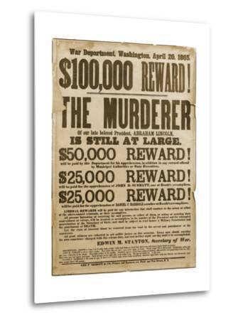 Reward Poster of Lincoln Assassins--Metal Print