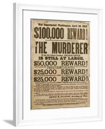 Reward Poster of Lincoln Assassins--Framed Art Print