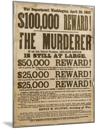 Reward Poster of Lincoln Assassins--Mounted Art Print
