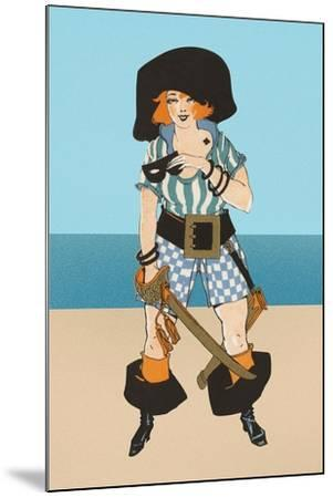 Lady Pirate with Tattoo--Mounted Art Print