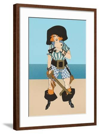 Lady Pirate with Tattoo--Framed Art Print