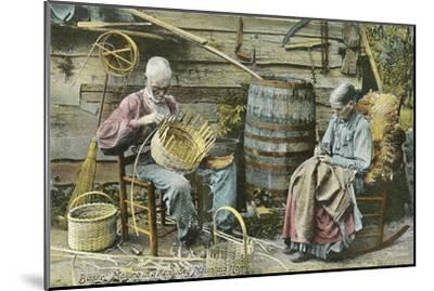 Basket Weaving in Kentucky--Mounted Premium Giclee Print